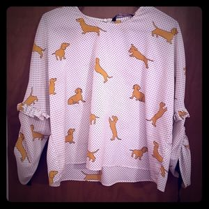 Zara dachshund top with rushed sleeve and ties